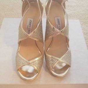 Jimmy Choo champagne glitter fabric/mirror leather